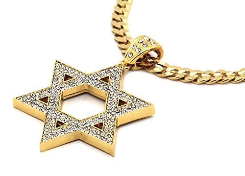 L & L Nation Mens Gold Tone Large Star of David Pendant with 30