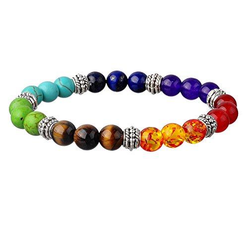 7 Chakra Gemstone Bracelet Crystal Reiki Healing Balancing Natural Gemstone Round Beads 7 inches Long