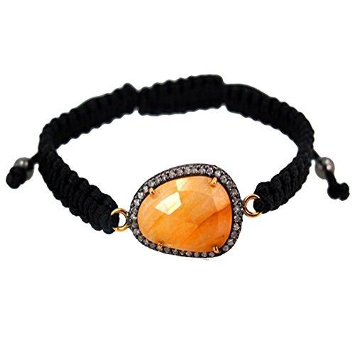Rutile Quartz Gemstone Macrame Bracelet 14k Gold .925 Sterling Silver Jewelry (Exporter Gold Jewelry)