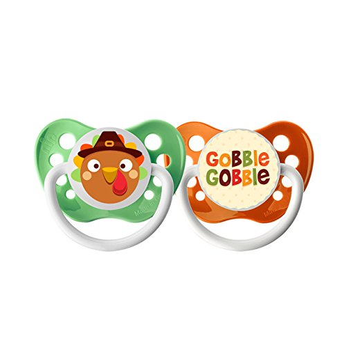 Ulubulu Holiday Pacifier, Thanksgiving Turkey and Gobble, 0-6 Months