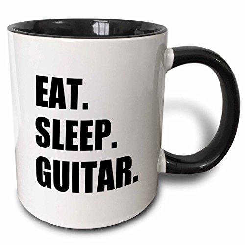 3dRose 180408_4 Eat Sleep Guitar Fun Text Gifts For Guitarist Musicians Music Player Two Tone Mug, 11 oz, Black ()