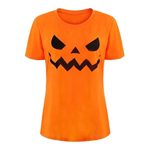 Csbks Jack O' Lantern Pumpkin Face Ladies' T-Shirt Halloween Costume Fun Tee Orange XL