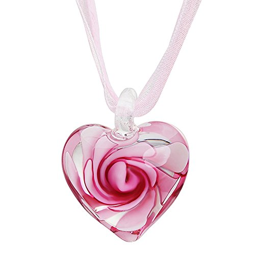 Hosaire Fashion Love Heart Long Necklace Glass Pendant Dress Chain With Crystal Spiral Flower Women's Jewelry (Pink) - Pink Glass Heart Earrings