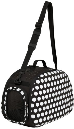 Petmate 21788 Curvations Cat and Puppies Tote with Dots, Black/White