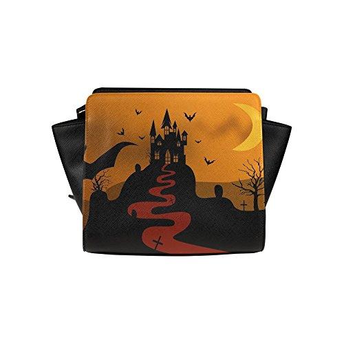 Meincare Women's Castle Night Moon Bat Halloween Pu Leather Satchel Bag