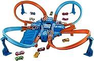 Hot Wheels Criss Cross Crash Motorized Track Set, 4 High Speed Crash Zones, 4-Way Booster, 4 Loops, Includes 1