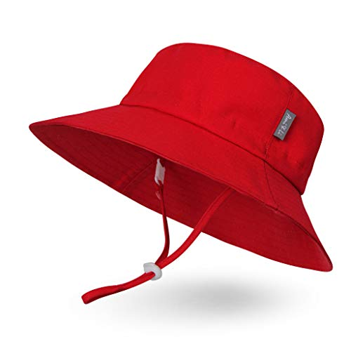 - Ami&Li tots Adjustable Sunscreen Bucket Sun Protection Summer Hat for Baby Girl Boy Infant Kid Toddler Child UPF 141 Red