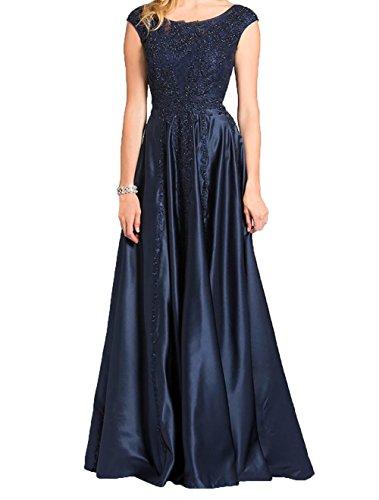 Brautmutterkleider Abschlussballkleider Promkleider Navy Navy Blau Bodenlang Abendkleider Blau Charmant Damen Satin U4SW0X1