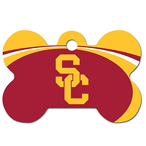 Personalized Laser Engraved 1.5 x 1 inch USC Trojans Bone Shape Pet ID Tag - Free Tag Silencer