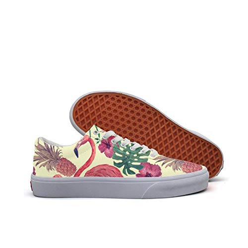Horace Browne Women Summer Flamingo Pineapple Canvas Sneaker Skate Shoes Fashion Low Cut Lace up Casual Shoes