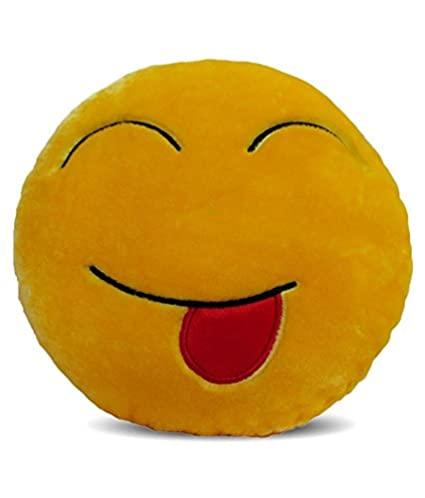Deals India Yellow Tougue out Smiley Cushion - 35 cm(smileyC)