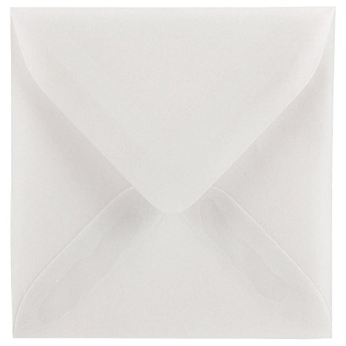 JAM Paper 3 1/8 x 3 1/8 Square Tiny Envelope - Clear Translucent Vellum - 100/pack (Square Vellum Envelopes)