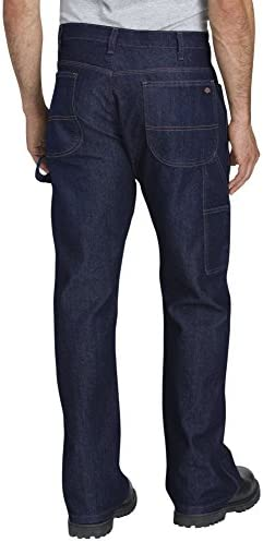 41vUCO76soL. AC Dickies Men's Relaxed-Fit Five-Pocket Flex Performance Carpenter Jean    Men's performance 5-pocket carpenter jean is made from a 11.5 ounce denim that is stronger and longer lasting than standard denim to stand up with you on those tough jobs. Exceptional abrasion resistance. Natural stretch woven into the fabric will move with you. ImportedMachine WashRelaxed work-ready jean featuring carpenter styling with hammer loop and five-pocket stylingTough max technology for stronger and longer lasting performanceAbrasion resistanceFlex fabric for ease of movement, comfort, and breathabilityRelaxed straight fit is roomier through the seat and thigh