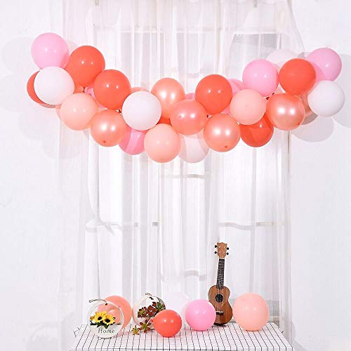 Orange And Pink Balloons (Party Balloons 100 pcs 12 Inch Pink Balloons Coral Balloons Baby Pink Balloons Pastel Balloons Birthday Party Baby Shower)