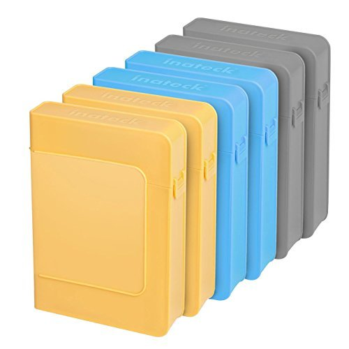 [6 Pack] Inateck 3.5 Inch Anti-Static Hard Drive Case HDD Protective Carrying Box / External Shockproof Storage Case for 3.5 Inch HDD - Gray/Blue/Yellow (HPEx6)