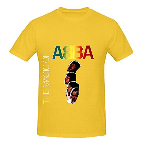 Mos Bacon (The Magic Of Abba 80s Mens Round Neck DTG Shirt Yellow)