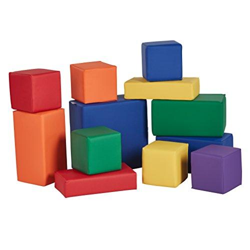 ECR4Kids Softzone Stack-A-Block, Soft Foam Play Set for Kids, Assorted (12-Piece)