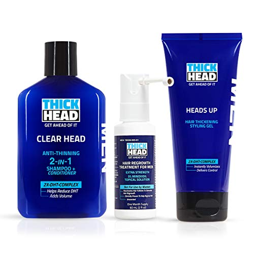 THICK HEAD HEAD START Hair Loss Treatment & Regrowth System for Men | Includes Shampoo and Conditioner, 5% Minoxidil, Hair & Styling Gel | Hair Loss, Hair Growth, Thinning Hair