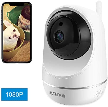 MATEYOU 1080P 2 Audio WiFi Baby Monitor, Monitor Baby Crying, Night Vision IP Security Camera with Alexa, Wireless Indoor Camera Compatible for Baby Elder Pet, Cloud Service Microsd Support
