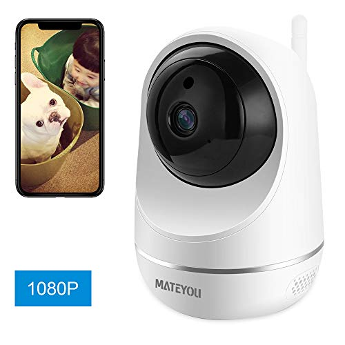 MATEYOU 1080P WiFi IP Security Camera with Alexa, Baby Monitor, Can Monitor Baby Crying, 2-Way Audio Wireless Indoor Camera Compatible for Baby Elder Pet, Cloud Service Microsd Support