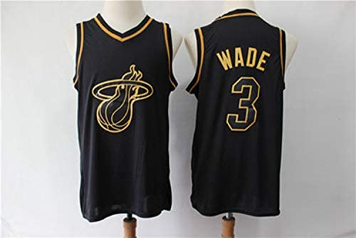 the latest 63e73 828d5 Dwyane Wade NO.3 Miami Heat Black Gold Collection Limited ...