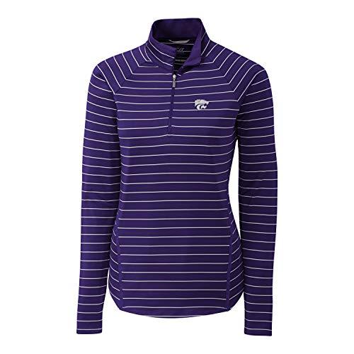 Cutter & Buck NCAA Kansas State Wildcats Long Sleeve Pencil Stripe Evie Half Zip, College Purple, M