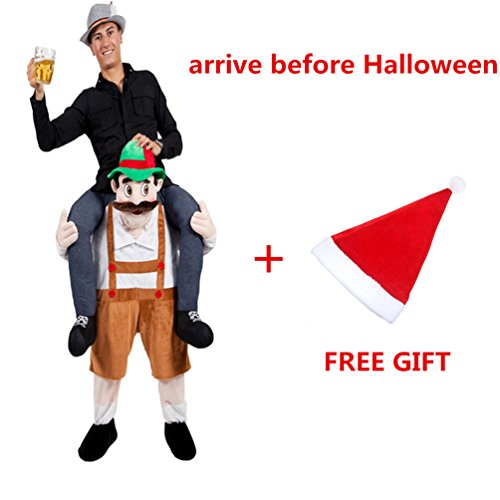 Beer Guy Costumes (Halloween Piggyback Ride On Riding Shoulder Adult Brown Beer Guy Costume Unisex Fancy Dress)