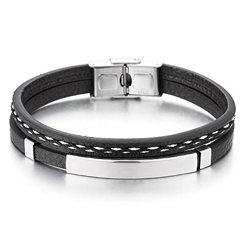COOLSTEELANDBEYOND Mens Womens Two-Row Black Leather Bangle Bracelet with Steel ID Charms and Black White Stitches