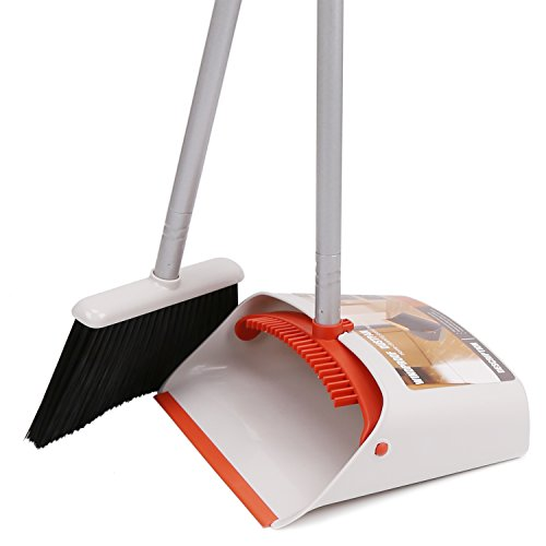 """Broom and Dustpan Set Upright, 40"""" Brooms with Dust Pans Combo for Lobby Home Kitchen Office Room Floor Use, Yellow"""