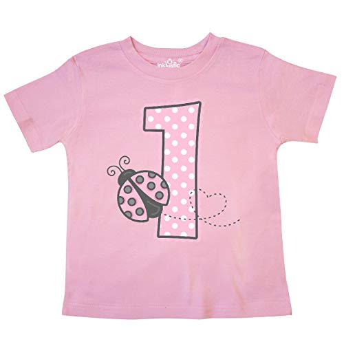 - inktastic - Pink Ladybug 1st Birthday Toddler T-Shirt 4T Pink 1d278