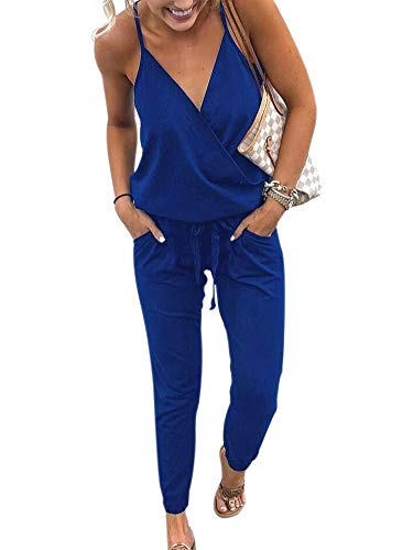 SCORP Womens Stretch Cotton Crossover V Neck Racerback Drawstring Cami Jumpsuit Romper Blue S