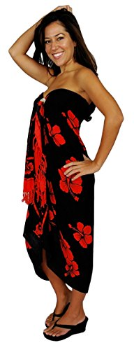 1 World Sarongs Womens Hibiscus Flower Swimsuit Cover-Up Sarong in Red/Black