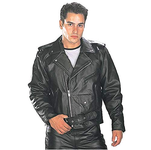 Xelement B7100 'Classic' Men's Black TOP GRADE Leather Motorcycle Biker Jacket - 3X-Large