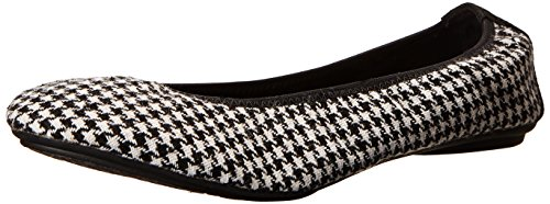White Hush Chaste Ballet Puppies Black Flat Houndstooth Hush Womens Puppies q7aCS