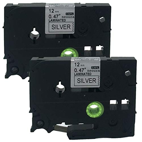 (2PK Black on Silver Label Tape Compatible for Brother TZ TZe 931 TZ-931 TZe-931 P-Touch 12mmx8m(0.47