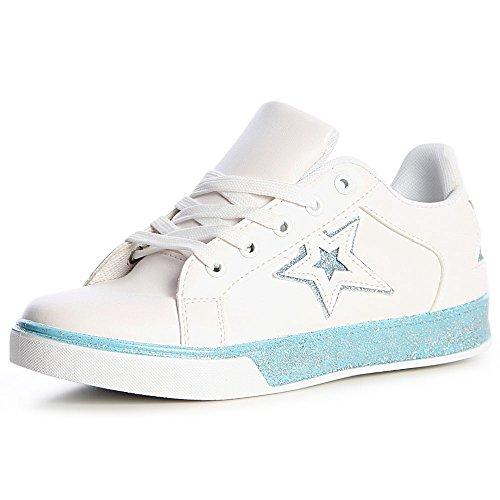 Clair Bleu Topschuhe24 Femmes Chaussures De Sport Sneaker YUpwUq