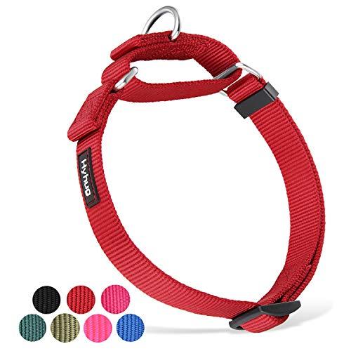 Heavy Duty Nylon Anti-Escape Adjustable Martingale Large Boy and Girl Dog Collar - Walking Training Daily Use.(Large,Red)
