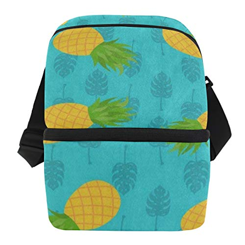 Lovexue Lunch Bag Tropical Palm Leaf Pineapple Reusable Cooler Bag Mens Leakproof Lunch Organizer Zipper Tote Bags for Picnic