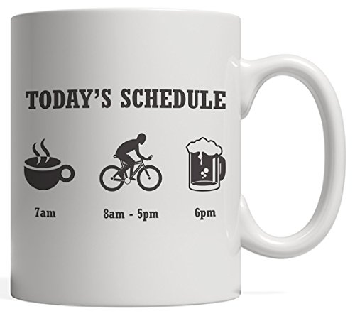 Today's Schedule Mug - Coffee Cycling Bike And Beer - Funny Biking Gift For Cyclists And Bikers Who Love Drinking And Riding In The Mountain!