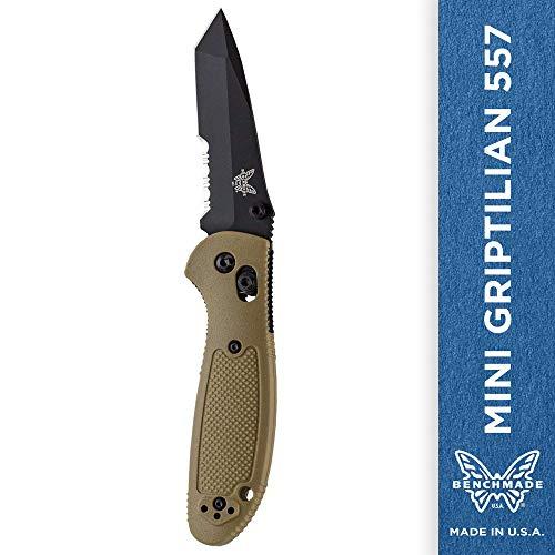 Benchmade - Mini Griptilian 557 Knife with CPM-S30V Steel, Tanto Blade, Serrated Edge, Coated Finish, Sand Handle