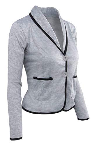 Poches Ringer Xxx Gris Travail Avec large De coloré Serrés Noir Et Oudan Taille Femmes Vêtements Casual Blazer RUAAXp