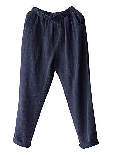 (Soojun Womens Cotton Linen Loose Fit Elastic Waist Harm Pant, Navy, Small Petite)