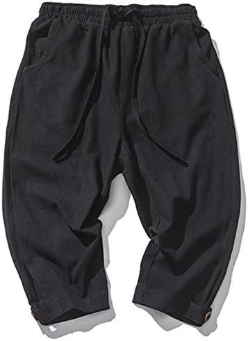 sandbank Men/'s Drawstring Shorts Loose Summer Linen Harem Capri Yoga Pants