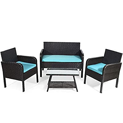 Tangkula 4 Piece Patio Outdoor Conversation Set with Glass Coffee Table, Loveseat & 2 Cushioned Chairs Garden Lawn Rattan Wicker Patio Chat Set Outdoor Furniture Set (Blue) (1) - Sturdy Frame & Hand-Woven Rattan: Our 4-piece patio furniture set is made of superior steel and premium PE rattan that ensures the stability and durability. And the exquisite craftsmanship improves overall weight capacity. Besides, the set can withstand moderate wind or rain. Ergonomic Chair with Waterproof Cover: At the front of the armrest, the corner is designed in round which accord with your line of hand and wrist. And the height of armrest is not too high or too low to relax your hand or arm. What's more, the zippered cover of the cushion can be removed from cushion and cleaned conveniently. Glass Top Table with Shelf: The tempered glass is fixed by 4 suckers and it won't move freely. And the top is removable so that it is easy to clean if the top is dirty. Besides, the lower shelf can provide additional storage space for you to store some sundries. At the bottom of the table, there are 4 pads to prevent slip and protect ground. - patio-furniture, patio, conversation-sets - 41vUG0V7ppL. SS400  -