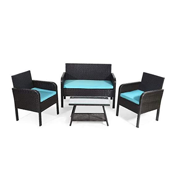 Tangkula 4 Piece Patio Outdoor Conversation Set with Glass Coffee Table, Loveseat & 2 Cushioned Chairs Garden Lawn Rattan Wicker Patio Chat Set Outdoor Furniture Set (Blue) (1) - Sturdy Frame & Hand-Woven Rattan: Our 4-piece patio furniture set is made of superior steel and premium PE rattan that ensures the stability and durability. And the exquisite craftsmanship improves overall weight capacity. Besides, the set can withstand moderate wind or rain. Ergonomic Chair with Waterproof Cover: At the front of the armrest, the corner is designed in round which accord with your line of hand and wrist. And the height of armrest is not too high or too low to relax your hand or arm. What's more, the zippered cover of the cushion can be removed from cushion and cleaned conveniently. Glass Top Table with Shelf: The tempered glass is fixed by 4 suckers and it won't move freely. And the top is removable so that it is easy to clean if the top is dirty. Besides, the lower shelf can provide additional storage space for you to store some sundries. At the bottom of the table, there are 4 pads to prevent slip and protect ground. - patio-furniture, patio, conversation-sets - 41vUG0V7ppL. SS570  -