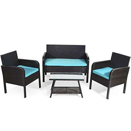 Tangkula 4 Piece Patio Outdoor Conversation Set with Glass Coffee Table, Loveseat & 2 Cushioned Chairs Garden Lawn Rattan Wicker Patio Chat Set Outdoor Furniture Set (Blue)