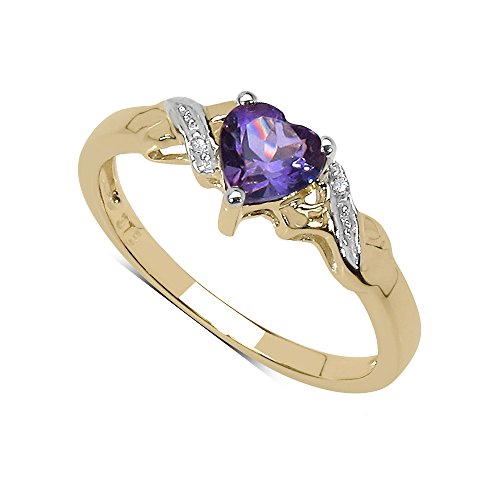 The Amethyst Ring Collection: 9ct Gold Heart Shaped Amethyst with Diamond...
