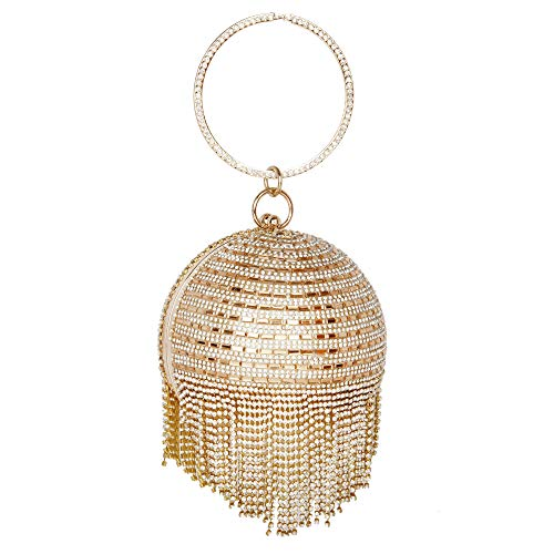 Zuby Bag Cluthes For Womens Bridal, Wedding, Casual Handicraft Diamond Golden Party Wear Round Bridal Metallic Gold Clutch
