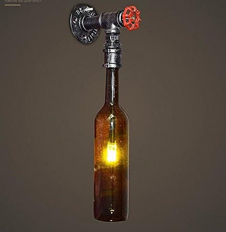 Winson Aire Industrial Retro Botella de Cerveza Apliques de pared de tubo de Luz Creativa personalidad