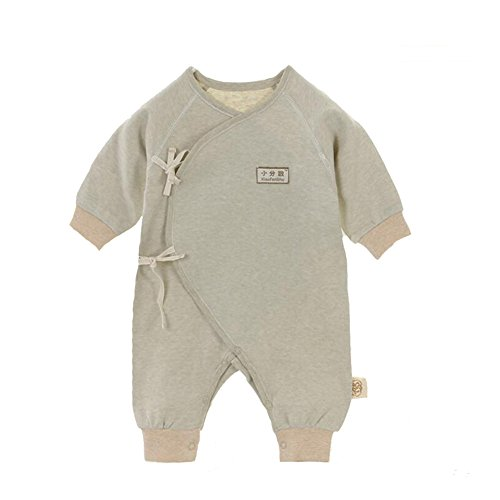 Fairy Baby Unisex Newborn Organic Cotton Belt Butterfly Slant Opening Romper,0-3M,Green Feet